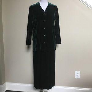 KAREN KANE green velvet top/jacket skirt set 6P